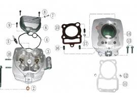 Keturračio variklio galvutės schema Variklis CG tipo