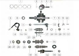 Keturračio variklio greičių dėžės schema. Variklis CG tipo