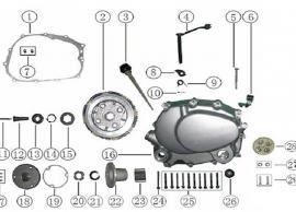 Keturračio variklio kairės pusės schema. Variklis CG tipo