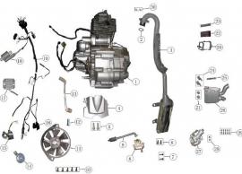 Keturračio variklio priedų schema. Variklis CG tipo.