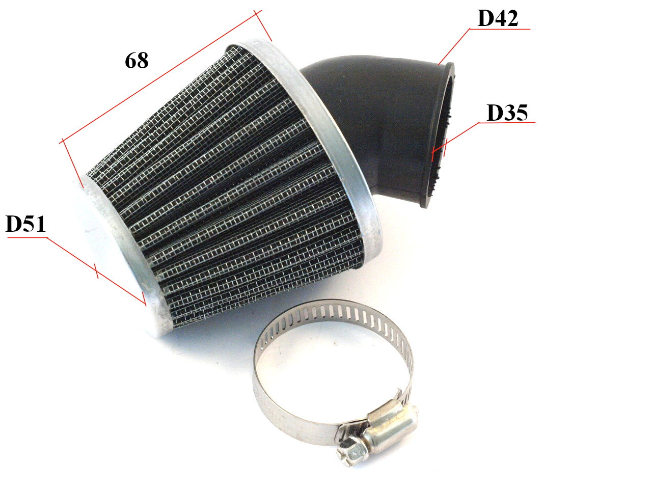 Wire mesh sports air filter for motorcycle, quad bike