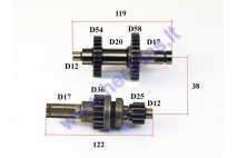 Gearbox shafts (mainshaft+countershaft) for ATV quad bike