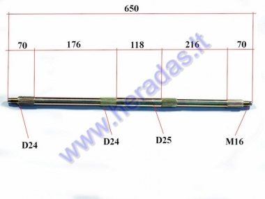 Rear axle for ATV quad bike up to 150cc
