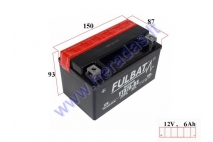 Motorcycle battery 12V 6Ah YTX7A-BS