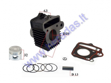 Cylinder piston set for moped 4T D39 50cc  139FMB