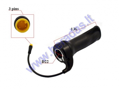 Throttle (handlebar grip) for electric bicycle round connector