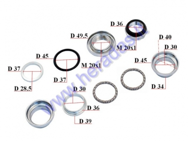 Handlebar bearings with cups for electric bicycle Electron EB18