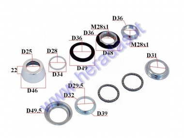 Handlebar bearings for electric bicycle Electron EB19