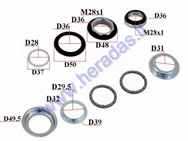 Handlebar bearings with cups for electric bicycle Electron EB21