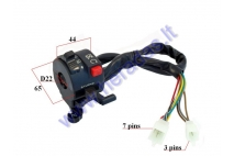 Handlebar switch assembly for quad bike light/indicator/on/off