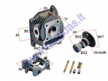 Cylinder head assembly for scooter 70cc 4T GY6 47mm