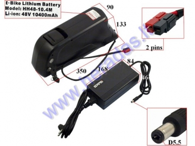 Lithium-ion battery for electric bicycle 48V 10.4Ah , maximum discharge current 25A. Can be used in various 48V electronic devices.