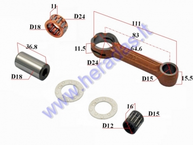Crankshaft connecting rod for scooter Yamaha DTPin D18 L36,8