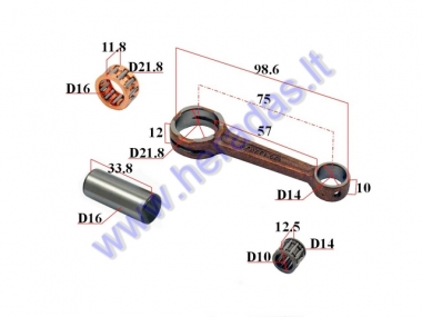 Crankshaft connecting rod for scooter Suzuki AD50Pin D16 L33.8