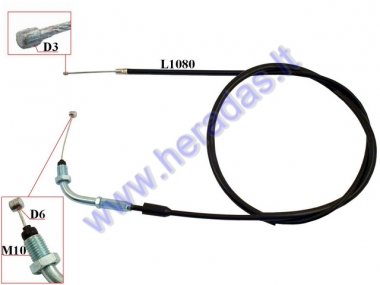 Throttle cable for scooter, moped 139FMB L108, motorized bicycle
