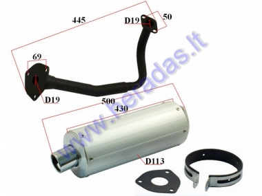 Muffler for scooter GY6 125-150cc