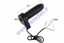 Throttle (handlebar grip) for electric bicycle 3 wire