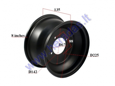 Rim for quad bike 8 inch