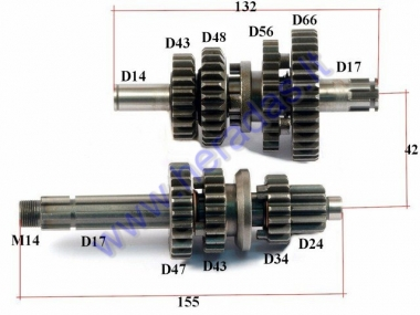 Gearbox shafts (mainshaft+countershaft) for 125-150cc motorcycle LIFAN engine fits models TORNADO, CBF33