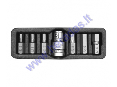 7 piece hexagon bit set H4, H5, H6, H8, H10, H12 L=30mm