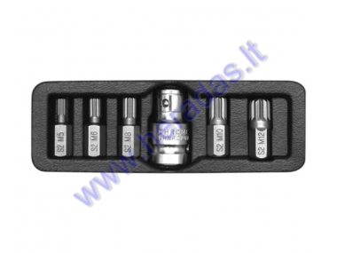 6 piece spline bit set M5, M6, M8, M10, M12 L=30mm