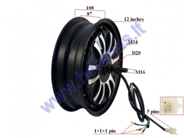 Electric motor scooter rear tyre with engine 12 inhces 72V 1.8kW   HAWK