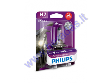 LIGHT BULB FOR MOTORCYCLE 12V H7 55W +40% PHILIPS CITYVISION VIBRATION PROTECTION PX26D