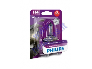 LIGHT BULB FOR MOTORCYCLE 12V H4 60/55W +40% PHILIPS CITYVISION vibration protection P43T-38