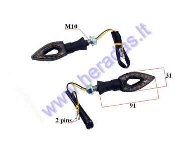 Turn signal light for motocicle LED white 2pc set