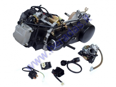 SCOOTER ENGINE 4-STROKE GY6  150cc WITH CARBURETOR, CDI,VOLTAGE REGULATOR, STARTER MOTOR, RECTIFIER, IGNITION COIL.