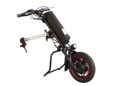 Wheelchair trailer 250w. Designed to turn hand driven wheelchairs into self-propelled wheelchairs