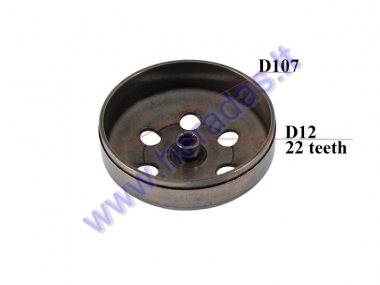 CLUTCH DRUM FOR SCOOTER 107mm 22 TEETH D12 Aprilia, Piaggio, Vespa, Gilera 50-125cc