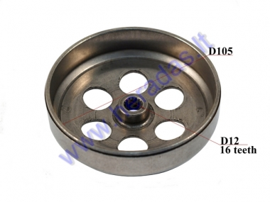 CLUTCH DRUM for scooter 105mm 16 teeth D12 Minarelli, Yamaha, MBK, Malaguti, Beta, Derbi