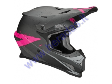 MOTORCYCLE CROSS HELMET THOR Gray/Pink S8S SECTOR HYPE HELMET