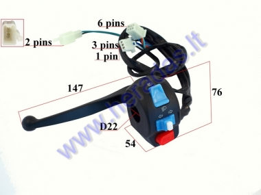 HANDLEBAR SWITCH ASSEMBLY FOR SCOOTER TURN/SIGNAL/LIGHTS, WITH HANDLEBAR  6+3+2+1 pin