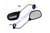 Universal mirror for motorized bicycle