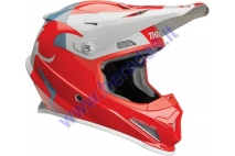 MOTORCYCLE CROSS HELMET THOR SHEAR RED/LIGHT GRAY  S9 SECTOR  HELMET