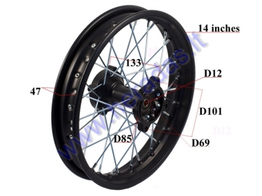 Rear wheel 14 inch fits mini motorcycles 110-150cc LIF125, ORION