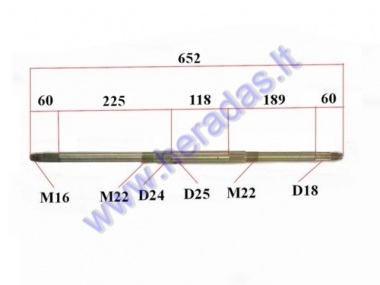 Rear axle for ATV quad bike up to 125cc
