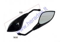 MIRRORS FOR SCOOTER MOTOCYCLE 2 PC SET M10, RIGHT THREAD