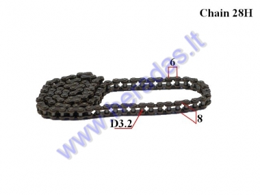 TIMING CHAIN FOR MOTORCYCLE 98 LINKS LENGTH 25H Pocket Bike