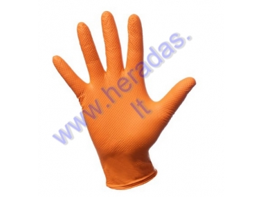 Nitrile non-slip gloves ROOKS STRONG Size M,L,XL. M-100pcs, L,XL-90pcs , orange