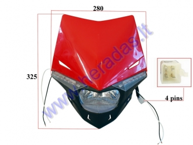 MOUNTED HEADLIGHT (WITH COVER) FOR MOTORCYCLE 6+6LED, HS1