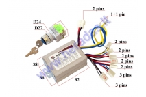 CONTROLLER SET WITH A KEY SWITCH FOR ELECTRIC QUAD BIKE 36V 800W  3 speed analogue EB081