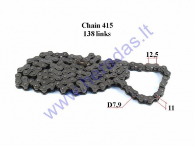 CHAIN FOR 50-80CC MOTORCYCLE-MOPED ROLLER7,9 L138 DID JAPAN CHAIN TYPE 415