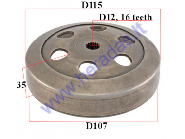 CLUTCH DRUM 107mm 16 teeth FOR SCOOTER  D12 Minarelli 50cc, Yamaha, MBK