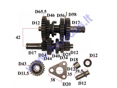 GEARBOX SHAFTS (MAINSHAFT+COUNTERSHAFT) 125CC 3+1 GEARS
