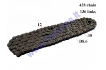 CHAIN 250CC FOR ATV QUAD BIKE ROLLER8,6 L136 428 TYPE