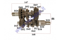 GEARBOX SHAFTS (MAINSHAFT+COUNTERSHAFT) FOR MOTORCYCLE, 5 GEAR FITS TO MOTOLAND MTL250 ENGINE TIPE 165FMM