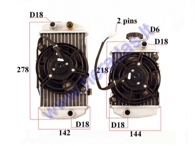 Radiator for motocycle 2 parts with 2 ventilators and sensor KAYO BSE